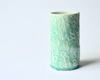 Medium Vase with Flannel Flower design in teal
