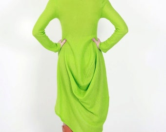 Knitted asymmetric mohair dress pleat fold light lime green felt felted designer piece comfortable Regina Doseth