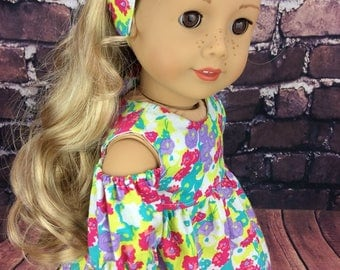 18 inch doll clothes AG doll clothes floral dress made to fit dolls like american girl doll clothes. Includes matching headband
