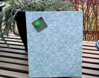 Magnet Board, mini memo board - Sky blue cotton with white flowers and greenery for photo and memo display, easel back stand