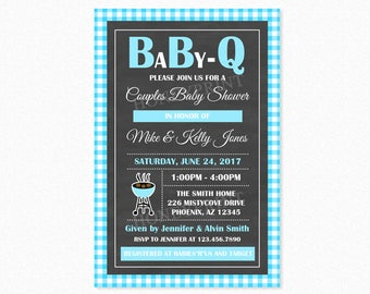 Baby Q Baby Shower Invitation, Barbeque BBQ Baby Shower Invitation, Blue, Chalkboard, Personalized, Printable and Printed