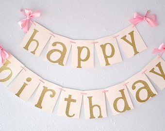 Pink and Gold Birthday Party Decorations. Ships in 2-3 Business Days. Glitter Gold Happy Birthday Banner.