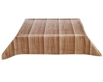 Rectangle Faux Bois Plank Primavera Oilcloth Tablecloth with Simple Hem