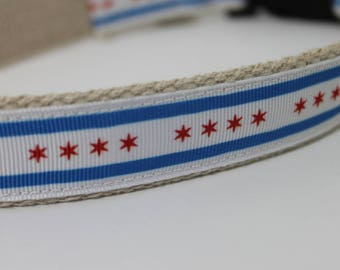 Chicago City Flag hemp dog collar or leash