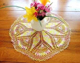 Pink And Yellow Pinwheel And Flower Petal Hand Crocheted Vintage Doily