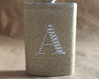 Personalized Gift Champagne or ANY Color Sparkly with ANY Rhinestone Initial 8 ounce Stainless Steel Flask