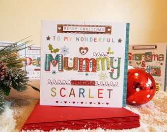 Mummy Christmas card. Personalised Christmas card Mummy or Mum Special Christmas card custom made.
