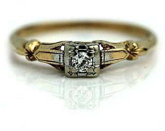 Petite Engagement Ring Minimalist Engagement Ring 1940s .08ctw Simple Ring Antique 14Kt Ring Delicate European Cut Diamond Wedding Ring!