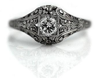 Art Deco Engagement Ring Vintage Diamond Engagement Ring European Cut .53ctw GIA Platinum Antique Filigree Ring Antique Deco Engagement Ring