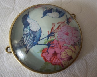 Bird Pendant Brass Setting & Bubble Top - Two Blue Birds on Flowering Branch Connector - Two Loops - Qty 1