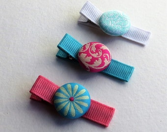 Set of Baby Hair Clips, Fancy Girls Hair Clips, Baby Barrettes with Fabric Buttons, Hair Clips for Babies, Multicolored Barrettes