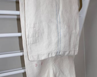 Antique French Grain Sack . Pale Blue Stripe.  Natural Rustic Linen Feed Sack