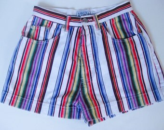 Colorful southwestern style vintage denim limited jeans shorts
