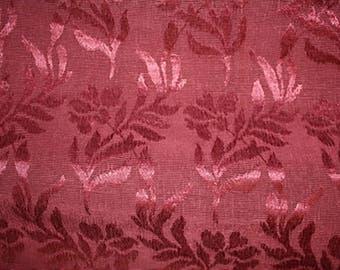 Vintage Maroon Brocade Damask Curtain Panel Fabric