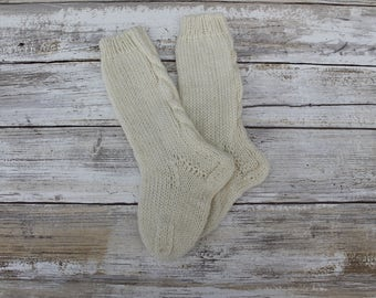 Hand Knit Baby Knee High Socks. Cream Knee High Socks for Baby. Cabled Baby Knee High Socks. Wool Knee High Socks. 0-6 months