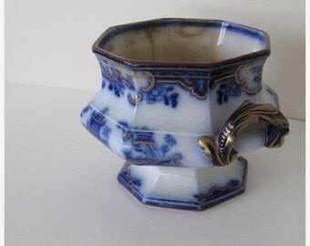 ON SALE Antique 1845 Flow Blue Sugar Bowl Cachepot Ridgway Staffordshire England Collectible 1800s