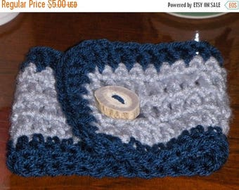 Windsor and stormy blue.  Handmade Crocheted Coffee Cup Cozy and Deer Antler Button Gift for him or her under 5 dollars stocking stuffer