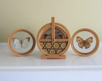Pressed Butterfly Coaster Set with Carrier Bamboo Made in Japan