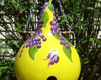 Beautiful Cascading Purple Wisteria Birdhouse Gourd With Butterflies