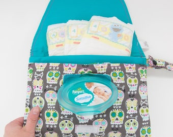Diaper & Wipe Clutch in Sugar Skulls Fabric, Mini Diaper Bag, Diaper Clutch, Nappy Case, Travel Small Diaper Bag, Mini Nappy Bag