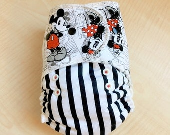 One Size Hybrid Fitted Cloth Diaper with Mickey and Minnie fabric - Ready to Ship - RTS