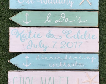 Made to order Wood directional wedding stake sign