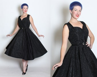 WICKEDLY Glamorous 1950s New Look Inky Black Taffeta Party Dress w/ Flocked Black Velvet SPIDERWEBS & Falling Leaves - Cobwebs - Goth - M