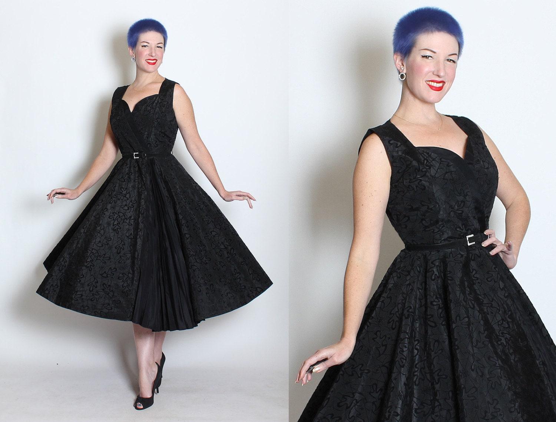WICKEDLY Glamorous 1950s New Look Inky Black Taffeta Party Dress w/ Flocked Black Velvet SPIDERWEBS & Falling Leaves - Cobwebs - Goth - M