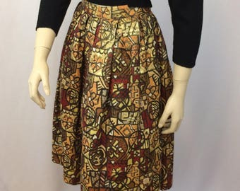 Brocade 1950's Vintage Skirt// Abstract Modern Print/ Brown Orange Rust Red Gold Print// Ladies XS