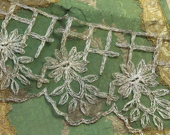 """3/4 yard  antique tulle lace metal silk flapper lace 1920 black and silver 4.5""""wide rose intricate flowers shimmery trim"""
