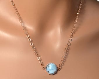 LP  1400 Beautiful Round Larimar Gemstone In  A Rose Gold Plated Bezel With White CZ Necklac