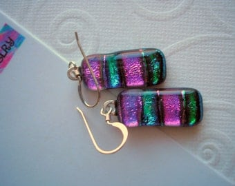 Dichroic Glass Earrings Fuschia Purple and Teal .925 Sterling Silver French Hooks Handcrafted Fused Glass Jewelry Special Gift Women's Boho