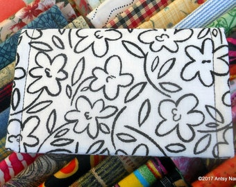 Line drawn floral ID wallet business card holder reuse vegan cotton black monochrome flower print on white