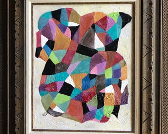 Colorful Vivid Vintage 60s 70s Abstract Oil Painting Framed Signed Retro Mid Century Modern Sixties Seventies