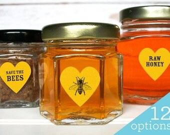 Yellow honey beekeeper heart labels, Save the Bees labels, Raw Organic Local & Pure honey labels for beekeepers, honey season stickers