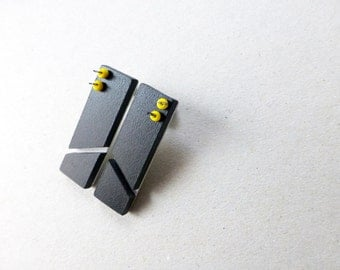 black geometric minimalist post earrings, square chevron, architectural contemporary jewelry