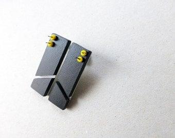 black geometric minimalist post earrings, square chevron, architectural contemporary jewelry