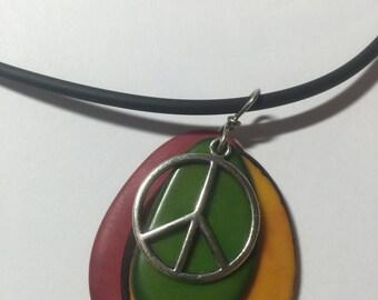 Irie Rasta Peace Sign Taqua Bead Necklace