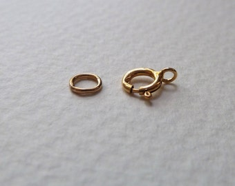 Gold Filled Spring Ring Clasps  -  5mm - Small Closure - Qty 10 sets