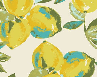 Yellow Green Blue and Cream Lemon Fabric, Sage By Bari J Art Gallery Fabrics, Yuma Lemons in Mist, 1 Yard Woven Cotton