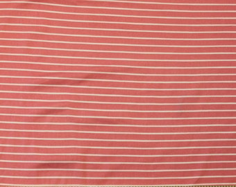 Salmon Pink and White Stripe Brushed Poly Spandex Knit, 1 yard