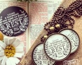 tired & burdened she came to Him and He gave her rest (Matthew 11:28) necklace