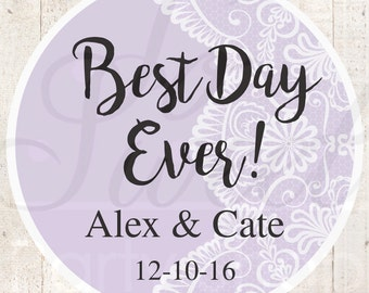 Wedding Favor Stickers, Bridal Shower Favor Labels, Personalized Stickers, Bachelorette Party Favors, Best Day Ever - Purple - Set of 24