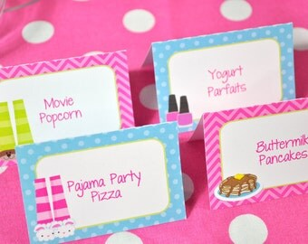 Slumber Party Food Label Cards, Buffet Labels, Pajama Party, Sleepover Birthday, Pancakes and Pajamas Party, Girls Birthday - Set of 12