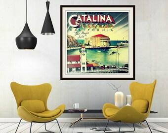 Catalina Island print California 12x12 20x20 Catalina Island photograph California wall art, vintage style art, beach decor, beach house art