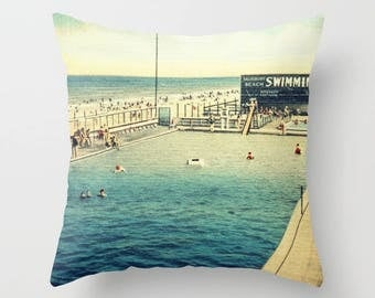 Mid Century Pillow Covers, Pool Throw Pillows, Beach Pillows, Beach Decor, Aqua Throw Pillow, Aqua Accent Pillow for Mid Century beach house