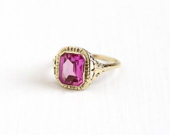 Vintage 10k Yellow Gold Filigree Created Pink Sapphire Ring - Size 8 Art Deco 1930s Hot Pink 2 + Carat Stone Women's Statement Fine Jewelry