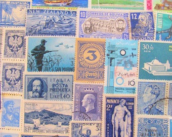 Shades of Blue 100 Vintage Blues Postage Stamps Turquoise Marine Teal Navy Powder Robin's Egg Cobalt Aqua Scrapbook US Worldwide Philately 2
