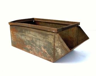 Vintage Industrial Metal Bin / Storage Organization / Old Metal Bin / Lyons Metal Bin / Industrial Decor / Vintage Metal Parts Bin