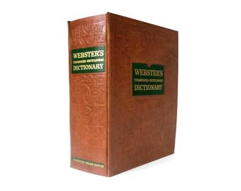 Vintage Websters Unabridged Encyclopedic Dictionary / Embossed Faux Leather Binding / Removable Pages / Color Plates / Aged Paper / 1957